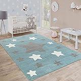 Paco Home Alfombra Habitación Infantil Estrellas Grandes Y Pequeñas En Azul Y Gris, tamaño:120x170 cm