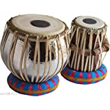 Sai Musical Sheesham Wood Hand Made Chrome Plated Copper Tabla Set Silver Color