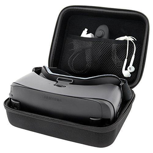 Case Tasche Hülle Box Etui von reVRsed I Für Samsung Gear VR 2017 (SM-R324), 2016 (SM-R323) und Modell 2015 (weiß) | S8 S7 S6 Edge Note 7 Virtual Reality 3D Video Brille, Google Daydream und sonstige Brillen für virtuelle Realität, 360 Grad und Zubehör I Plus: kostenloses EBook der besten VR Apps | Innenfarbe: schwarz