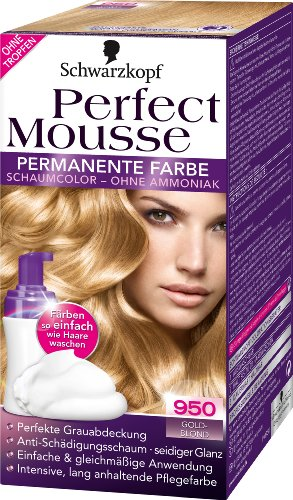 Perfect Mousse (Schwarzkopf Perfect Mousse permanente Farbe Stufe 3, 950 Goldblond, 2er Pack (2 x 93 ml))