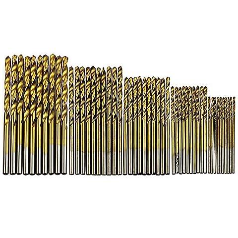 50pcs/lot de travail du bois Twist forets à revêtement en titane HSS haute en acier recouvert de titane