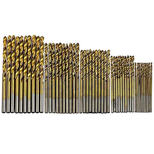 Juego de 50 brocas HSS con revestimiento de titanio de acero de alta calidad, para carpintería