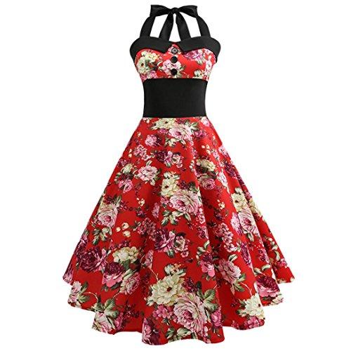 OverDose Damenkleider Neckholder Rockabilly 50er Vintage Retro Kleid Petticoat Faltenrock Abschlussball Kleider Festlich Cocktailkleider(A-Rot,EU-40/CN-XL) (Tweed-faltenrock)