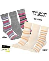 "3er Pack Damen Socken Strümpfe ""Ringel"" ohne Gummi (RS-11954) - inkl. EveryHead-Hutfibel"