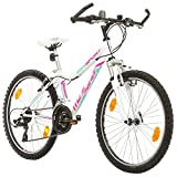 BIKE SPORT LIVE ACTIVE Jungenfahrrad 24 Zoll Bikesport MISTIQUE Mountainbike Jugend Fahrrad Kinderfahrrad Kinderrad Rahmen 34,5 cm Shimano 18 Gang (Weiß)
