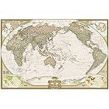 Weltkarte politisch Executive, Pazifik zentriert, großes Format: NATIONAL GEOGRAPHIC Weltkarte (Reference - World)
