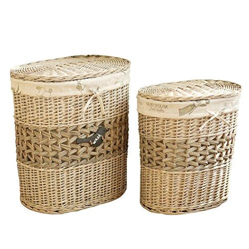 Panier de rangement Oval couvert Canapé de linge sale Rattan Porte-sac de rangement de vêtements Willow Boîte de finition de tissage Boîte de rangement pour jouets Rollsnownow (taille : Big+small)