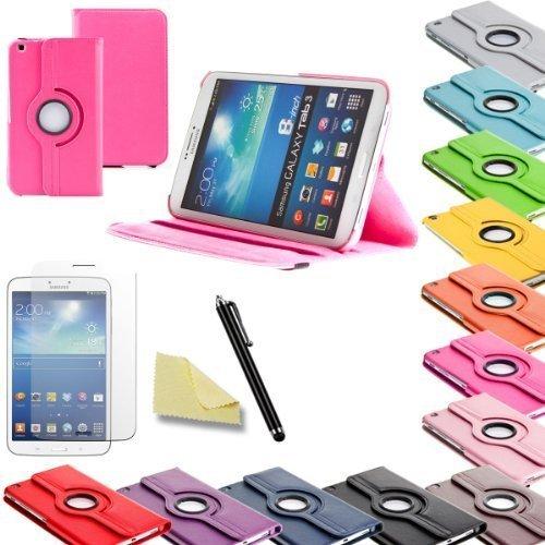 3in1 SET Tab3 8.0 360° Schutzhülle + Folie + Pen Samsung Galaxy Tab 3 8.0 SM-T310 T311 T315 Tasche Etui (Pink)