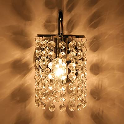 BEIYI Single Crystal Candle Wall Light Chromed Sconce Lighting Corridor Living