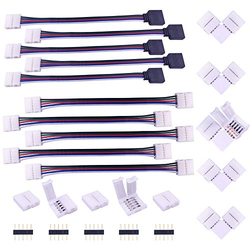 LED Strip Verbinder 5 polig LED Streifen Eckverbinder Verteiler LED Band Schnellverbinder LED Stripe Verlängerung Anschlusskabel LED Stecker Adapter Connector für 12mm Breite SMD 5050 RGBW LED Strip
