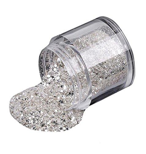 (ZEZKT-Beauty 10g Silber Farbe Hexagonfunkeln powder für 3D Nail Art Glitzer Lidschatte Spiegel Pulver Mirror Nail Glitzerpuder Glitzer Spiegel Effekt Pulver Pigment Mirror Powder)