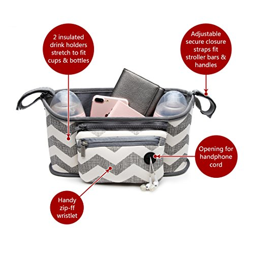 Miss Lulu di alta qualità che cambia organiser borsa rimovibile con cerniera borsa per passeggino Buggy, adatta a tutti i bambini o passeggino Grigio/Bianco