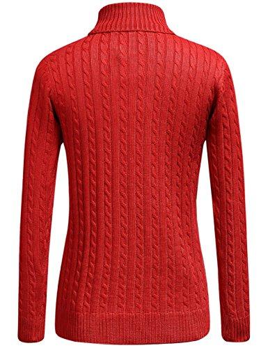 SSLR Herrn Rollkragen Pullover mit Einfarbig Rot