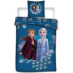 Aymax S.P.R.L. Parure de lit Disney Reine des Neiges 2 - Housse de Couette Frozen 140x200 cm + Taie d'oreiller 63x63 cm