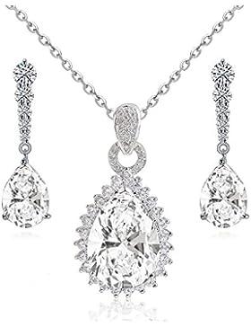 Schmuck-Set mit Swarovski-Kristallen und mit 18 Karat weißvergoldet - In Weiß - Halskette und Ohrringe