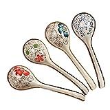 DEBON Cucchiai da tavola in ceramica dipinta a mano Fiore Smalto Porcellana Cucchiaio di riso asiatico giapponese Antipasto Stoviglie Pasto Partner Cibo Sicuro Senza piombo Lavastoviglie Cassaforte
