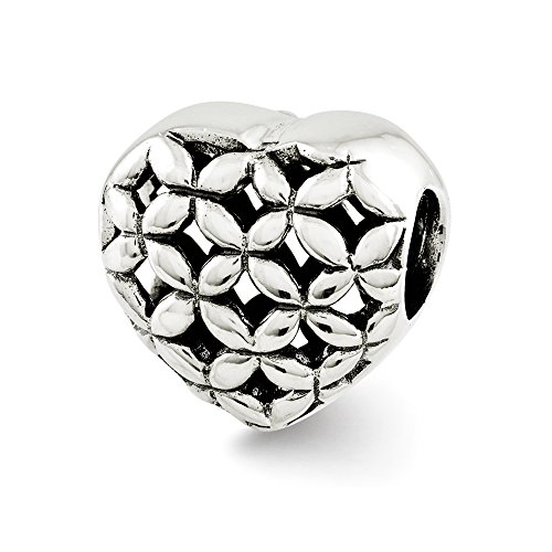 Black Bow Jewellery Company: Floral Lattice Heart Charm In Sterling Silber für 3 mm Bead Armbänder (Lattice Floral)