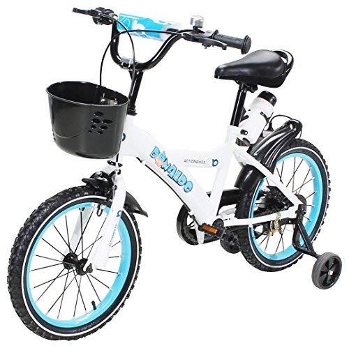 Actionbikes Kinderfahrrad Donaldo - 16 Zoll - V-Break Bremse vorne - Stützräder - Luftbereifung - Ab 4-7 Jahren - Jungen & Mädchen - Kinder Fahrrad - Laufrad - BMX - Kinderrad (16` Zoll)