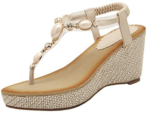 Bohemian Thong Sandalen Damen von BIGTREE Sommer Strand Glänzend Perle High Heel Keilabsatz Sandalen Beige 38 EU (Kleid Zehenring Sandalen)