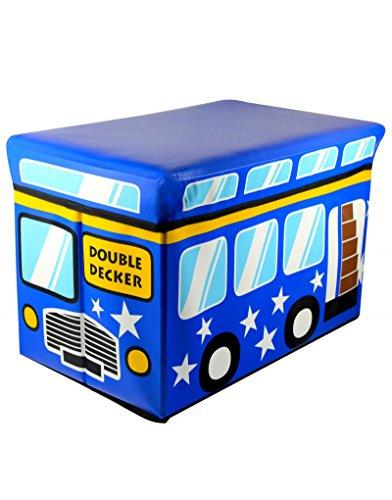 Homeline Puff-arcón plegable infantil - Modelo autobús Azul (48x31x31 cm)