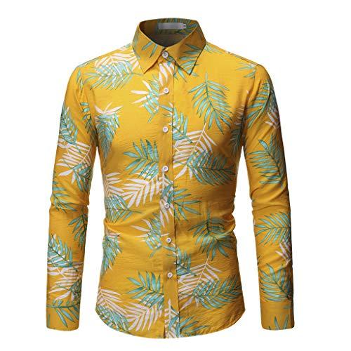 cd37a55e1 LHWY Camisa de Hombre Tops Shirt 2019 botón Casual de Moda Estampado Hawai  Playa Manga Corta