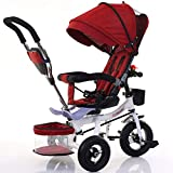 LAZ Dreirad fahrrad leichte kinderwagen, kompakte klappbare legierung stubenwagen mädchen und jungen kleinkind neugeborenen wagen, uv-schutz baldachin, geeignet von geburt an (Color : Red)