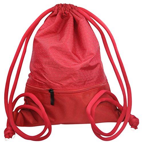 """Zaino Borsa Sportiva a Spalla Coolzon® Sacca da Ginnastica Borse Da Viaggio di Nylon Sacchetto da Scuola con Grandi Cerniera Tasca Unisex per Adulti e Bambini 43x35cm/ 16.9""""x13.8"""" (Nero) Rosso"""