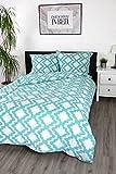 jilda-tex Seersucker Bettwäsche Tesselation 135x200 cm 100% Baumwolle Sommerbettwäsche Verschiedene Größen und Farben (Blau, 135 x 200 cm)