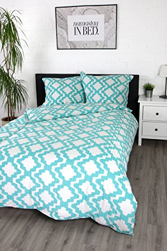 jilda-tex Seersucker Bettwäsche Tesselation 135x200 cm 100% Baumwolle Sommerbettwäsche Verschiedene Größen und Farben (Blau, 155 x 220 cm)