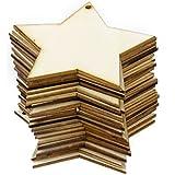 Phenovo 25pcs Adornos Madera Forma Estrella para Arte DIY Talla 8x8cm