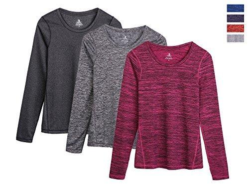 icyzone Damen Laufshirt Langarm T-Shirts atmungsaktive Funktionsshirt für Sport Fitness (Black Heather/Charcoal/Red Bud, M)