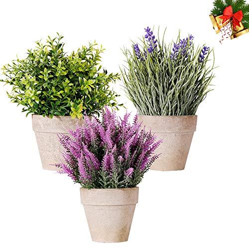 NEWROAD Künstliche Pflanzen Blumen 3 Stück Lavendel Pflanze Blumen Zement Pots Echt Mini Simulation Kunstpflanzen Plastikblume im Topf Desktop Gefälschte grüne Gras-Bonsais Balkon Büro Zuhause Deko