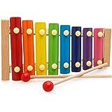 ألعاب اكسيلوفون التعليمية المبكرة للأطفال ، لعبة مبادئ موسيقى الأطفال تسحب على البيانو بثمانية ألوان ودرجات لون لعبة سحب خشبي