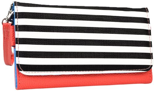 Kroo esamwlb1Epi-Slim Clutch Wallet Schutzhülle aus Leder für Smartphone, Coral with Black and White Stripes, Up to 5.7 Inch - Gucci Coral