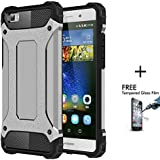 OnPrim Armor Hybrid Hard PC And Flexible Rubber Shockproof Bumper Drop Resistance Defend Case For Huawei Ascend P8 Lite 5 Inth Silver
