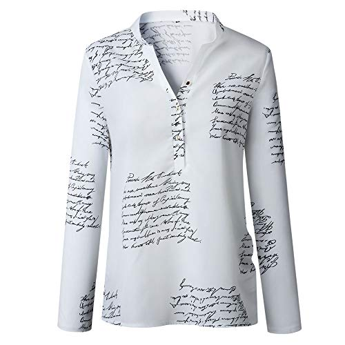 IZHH Damen Langarm T-Shirt, V-Ausschnitt Buchstaben Druckknopf Langarm T-Shirt Tops Bluse 100247 Damen V-Ausschnitt Langarm-Knopfhemd Top Party Outdoor Daily Tops(Weiß,Small)