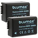 Blumax 2X Akku für Panasonic DMW-BMB9/DMW-BMB9E 890mAh Kompatibel mit Panasonic Lumix DMC-FZ40-FZ45-FZ47-FZ48-FZ60-FZ62-FZ70-FZ72-FZ100-FZ150 Leica V-Lux 2/3 …