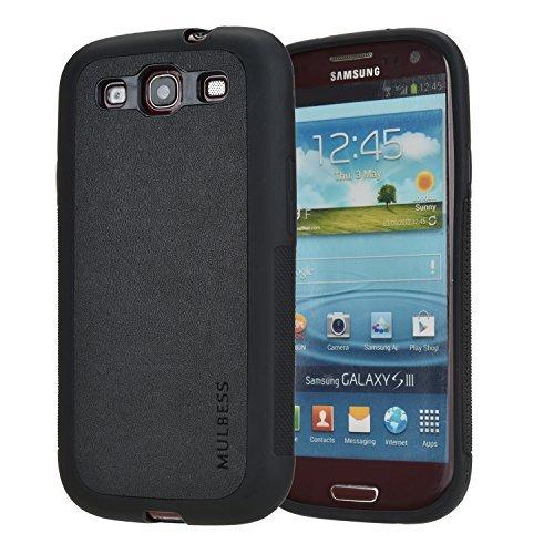 Mulbess Cover Galaxy S3 Pelle Ibrida Silicone TPU Flessibile Custodia per Samsung Galaxy S3,Nero