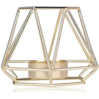 0dbd00918f KOBWA Metal Tea Light Candle Holders Geometric Metal Wire Iron Tea Light  Candle Holder Lantern Wedding