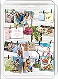 empireposter Memo - Shinsuke - Collage Foto Rahmen Bilderrahmen aus weißem Holz mit Leinen und Klammern