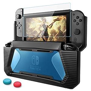 HEYSTOP Nintendo Switch Hülle mit Schutzfolie, TPU Schwerlast Schutzhülle for Nintendo Switch,Griff Cover Case Zubehör mit Stoßdämpfung und Anti-Scratch Schwarz/Blau