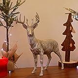 Garden Mile groß majestetisch Silber Effekt Hirsch Rentier Haus oder Garten Tiere Skulpturen schöne vielseitig Harz Gartenornament Weihnachten dekoration. 2 Styles - Standing Stag