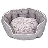 Dream Paws Luxury Complimentary Comfortable Pet/Dog/Animal Reversible Cushion Faux Non-Slip Base Washable Cosy Bed, Medium/Large, Grey