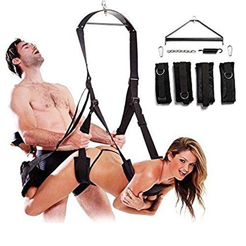 BDSM Sexspielzeug Sex Liebesschaukel Swings für Die Decke - Robuste & Bequeme Sexschaukel für Paare mit Extra Breiten Polstern mit Spreizstange, Karabiner, Dübel und Spezialfeder (schwarz)