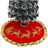 Wicemoon Weihnachtsbaum Rock Schlitten Elch Goldener Druck Weihnachtsbaum Basis Teppich für Hause Wohnzimmer Dekoration Rot