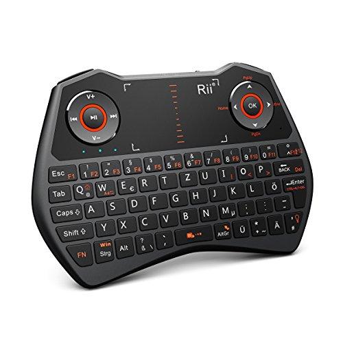 Rii Mini ONE i28 Wireless (QWERTZ) - Mini Tastatur mit Touchpad-Maus, Gyro-Maus, Mikrofon und Audio-Buchsen für Smart TV, Mini PC, HTPC, Computer und Konsolenspiele (Rii Mini ONE i28) (Wireless-tv-kopfhörer Set)