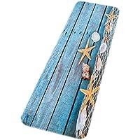 A.Monamour Retro Azulejos De Madera Conchas Marcos Estrellas De Mar Tema Náutico Impreso Absorbente