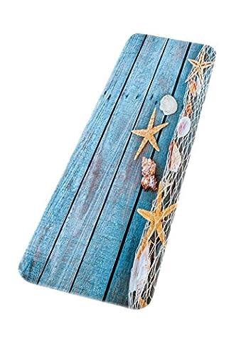 A.Monamour Rétro Plancher De Bois Bleu Filet De Pêche Conque