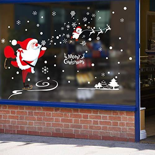 Wandaufkleber Wandmalerei Aufkleberremovable Christmas Wall Sticker Schaufenster Window Sticker Arrangement Dekoration Weihnachtsmann Geschenk Dress ()