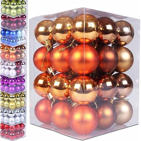 Jago - Set de 36 bolas pequeñas de Navidad de dimensión de 3 cm en colores marrón, marrón mate y naranja